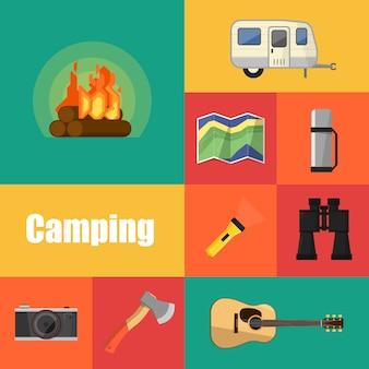 Conjunto de iconos de equipos de camping