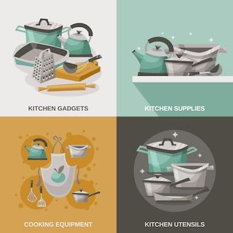 Conjunto de iconos de equipos de cocina