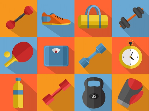 Conjunto de iconos de equipos deportivos de gimnasio.