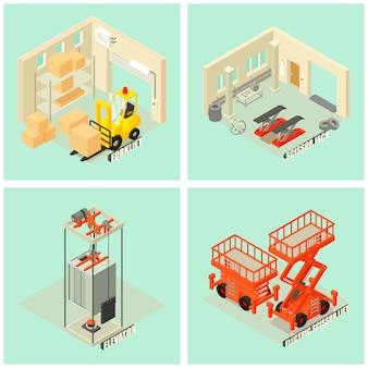 Conjunto de iconos de equipos de elevación de la máquina. ilustración isométrica de 25 iconos de vector de carga de equipo de máquina de elevación para web