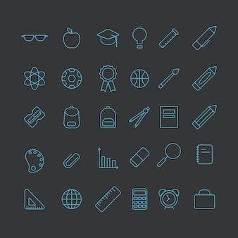 Conjunto de iconos de equipos escolares