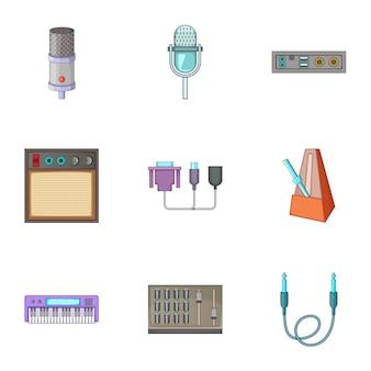 Conjunto de iconos de equipos de estudio de sonido, estilo de dibujos animados