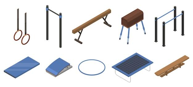 Conjunto de iconos de equipos de gimnasia, estilo isométrico