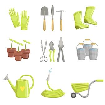 Conjunto de iconos de equipos de jardinería