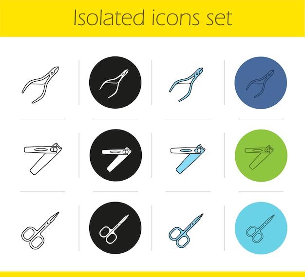Conjunto de iconos de equipos de manicura