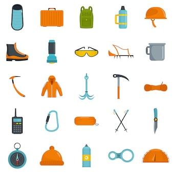 Conjunto de iconos de equipos de montañismo
