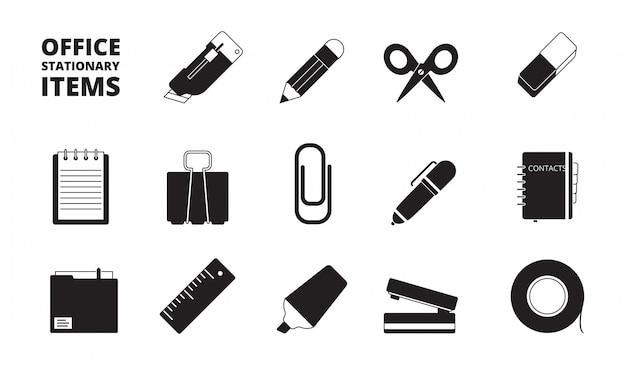 Conjunto de iconos de equipos de oficina