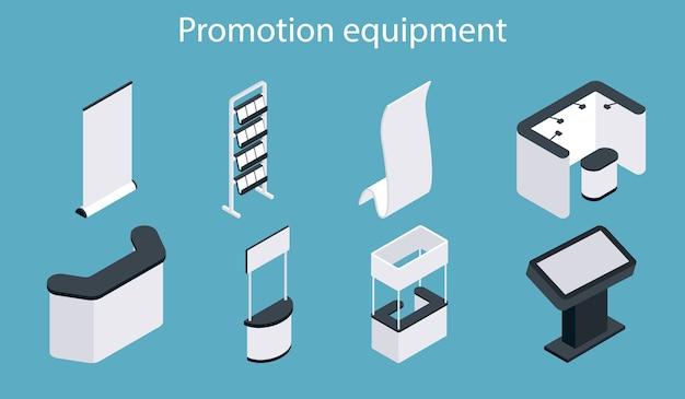 Conjunto de iconos de equipos de promoción. soporte de exhibición de exposición en blanco blanco isométrico, stand de feria, juego de mostrador de promoción.