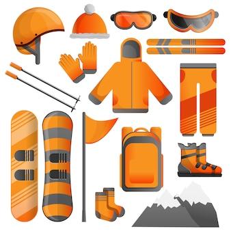 Conjunto de iconos de equipos de snowboard, estilo de dibujos animados