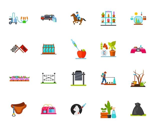 Conjunto de iconos de equitación y agricultura
