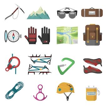Conjunto de iconos de escalada.