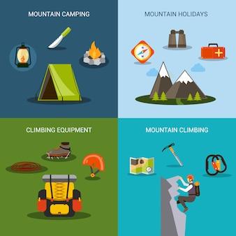 Conjunto de iconos de escalada