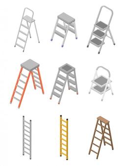Conjunto de iconos de escalera, estilo isométrico