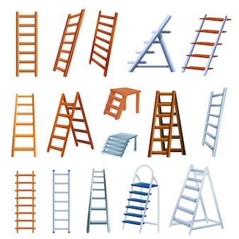 Conjunto de iconos de escalera