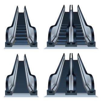 Conjunto de iconos de escaleras mecánicas, estilo realista