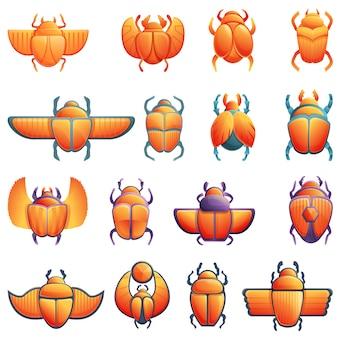 Conjunto de iconos de escarabajo escarabajo, estilo de dibujos animados