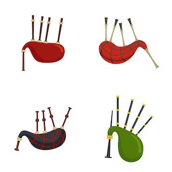 Conjunto de iconos escocés de gaita escocia
