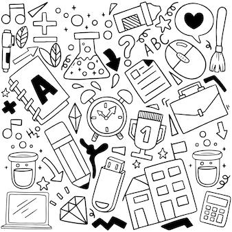 Conjunto de iconos escolares adornos dibujados a mano