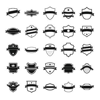 Conjunto de iconos escudo insignia