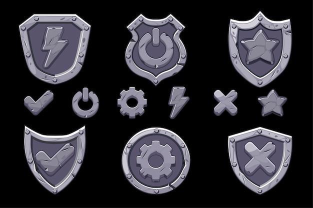 Conjunto de iconos de escudos de menú de piedra para el juego. iconos aislados de opciones, configuraciones, energía para la interfaz.