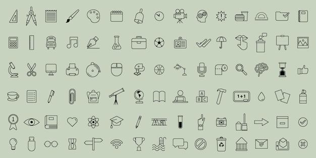 Conjunto de iconos de escuela delgada línea vector simple