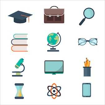Conjunto de iconos de escuela y educación