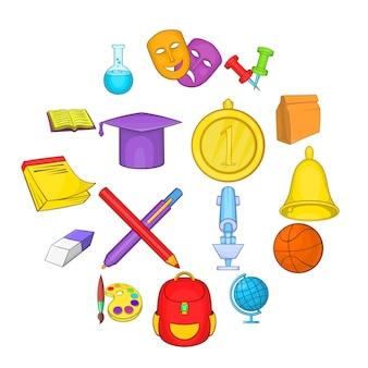 Conjunto de iconos de la escuela, estilo de dibujos animados
