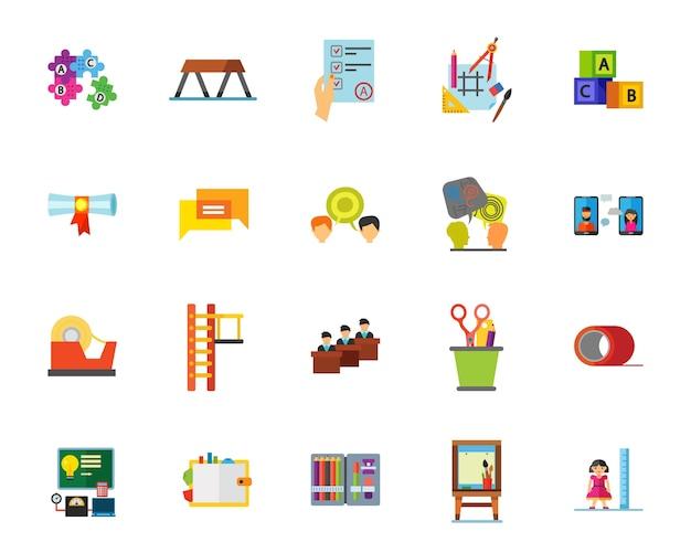Conjunto de iconos de la escuela media