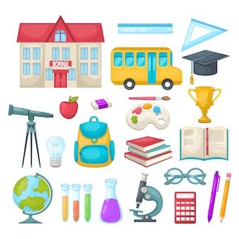 Conjunto de iconos de la escuela
