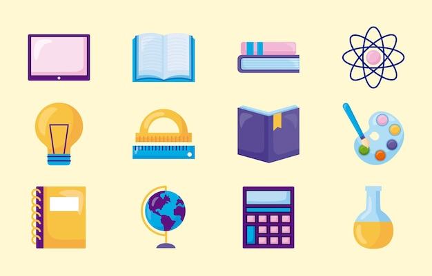 Conjunto de iconos de escuela