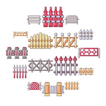 Conjunto de iconos de esgrima diferente, estilo de dibujos animados