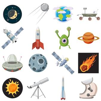 Conjunto de iconos de espacio, estilo de dibujos animados
