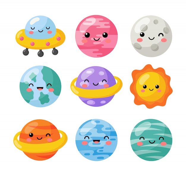 Conjunto de iconos de espacio kawaii. planetas estilo de dibujos animados. aislado