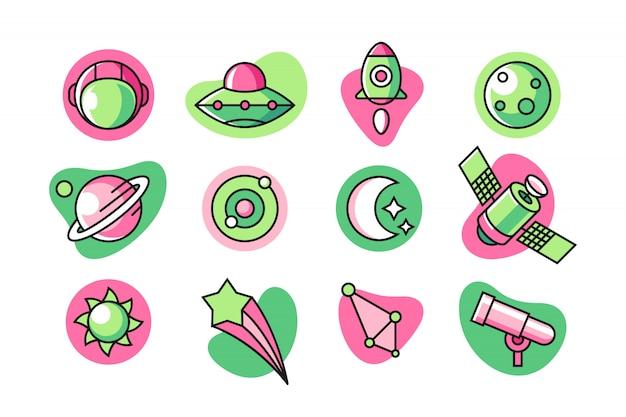 Conjunto de iconos de espacio