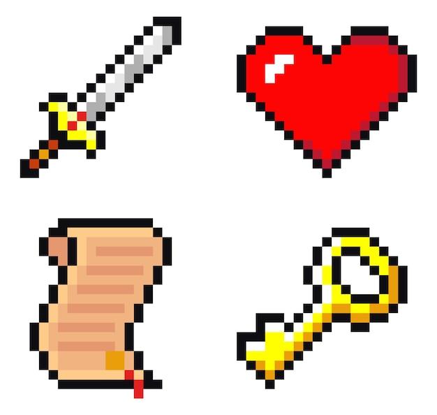 Conjunto de iconos de espada, desplazamiento, corazón y llave. pixel art aislado sobre fondo blanco.