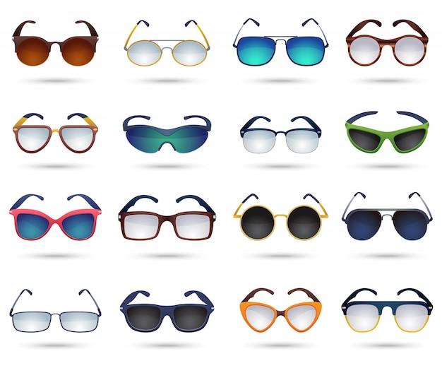 Conjunto de iconos de espejo de reflexión de moda gafas de sol