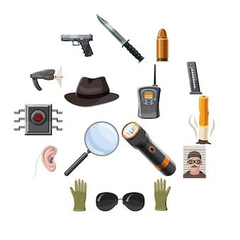 Conjunto de iconos de espía, estilo de dibujos animados