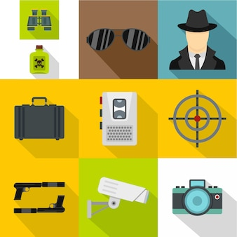 Conjunto de iconos de espía, estilo plano