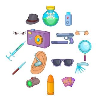 Conjunto de iconos de espía y seguridad, estilo de dibujos animados