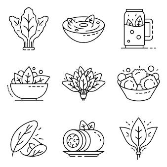 Conjunto de iconos de espinacas. esquema conjunto de iconos de vector de espinaca