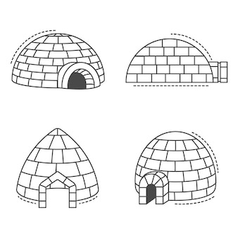 Conjunto de iconos esquimal igloo. esquema conjunto de iconos de vectores esquimal igloo