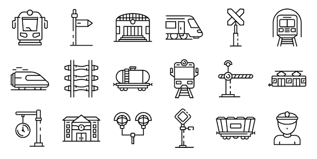 Conjunto de iconos de la estación de ferrocarril, estilo de contorno