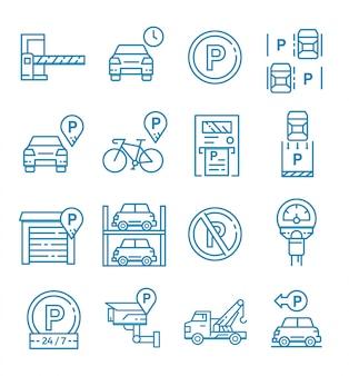 Conjunto de iconos de estacionamiento con estilo de contorno