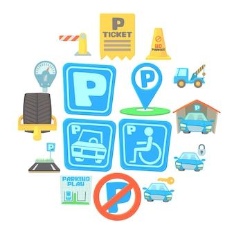 Conjunto de iconos de estacionamiento, estilo de dibujos animados