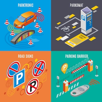 Conjunto de iconos de estacionamiento isométrico