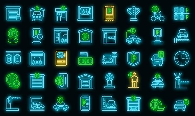 Conjunto de iconos de estacionamiento de pago. esquema conjunto de iconos de vector de estacionamiento de pago color neón en negro