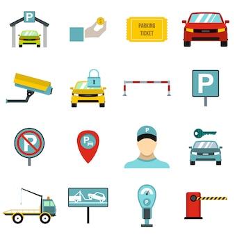 Conjunto de iconos de estacionamiento