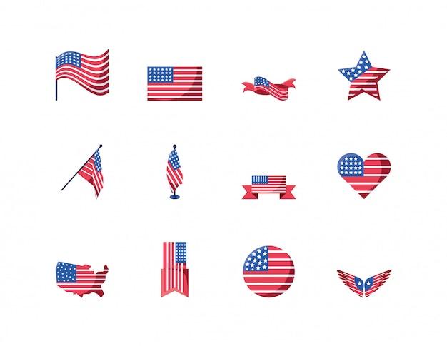 Conjunto de iconos de estados unidos aislado