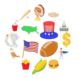 Conjunto de iconos de estados unidos, estilo de dibujos animados
