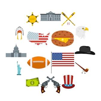 Conjunto de iconos de estados unidos, estilo plano